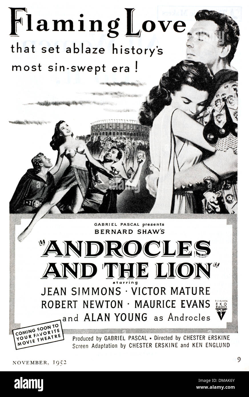 Old Movie Advert Androcles and the Lion Historical Archival Document Stock Photo