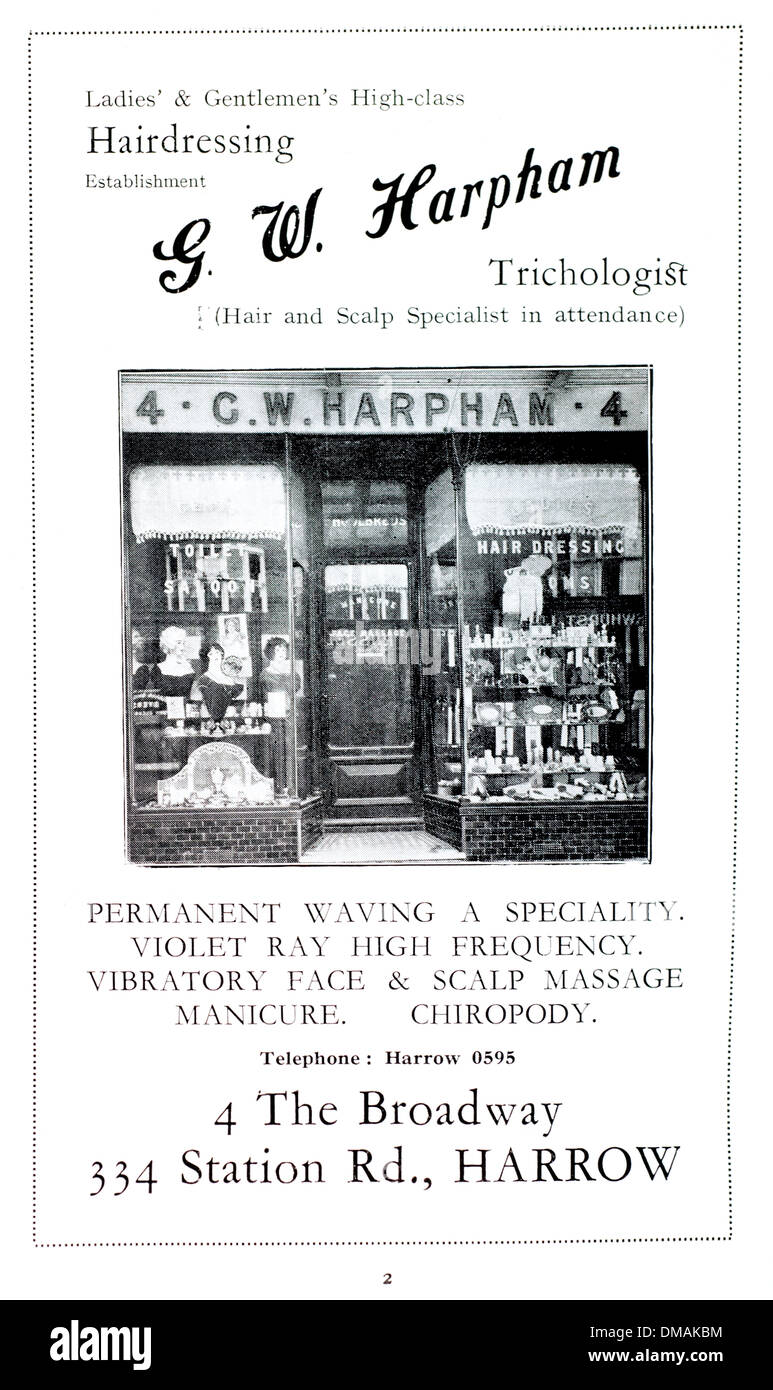 Old Advert Harphram Trichologist Harrow Historical Archival Document -  Stock Image