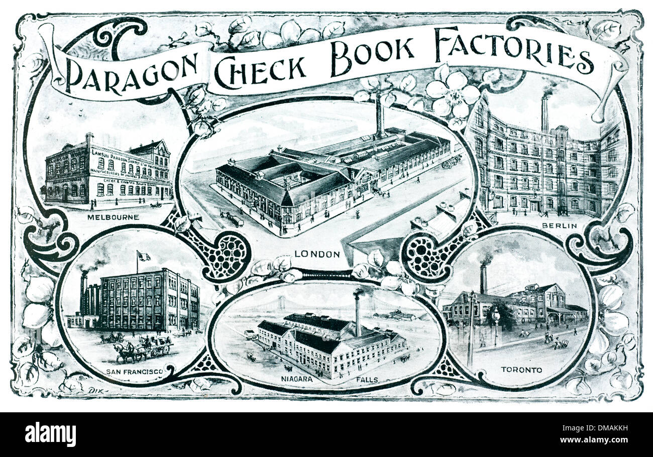 Old wood Block Print Paragon Check Book Factory Historical Archival ...