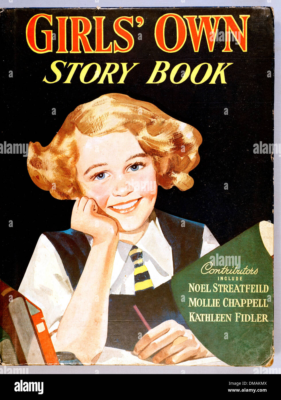 Vintage Old Girls Own Story Book Illustration Historical Archival Document - Stock Image