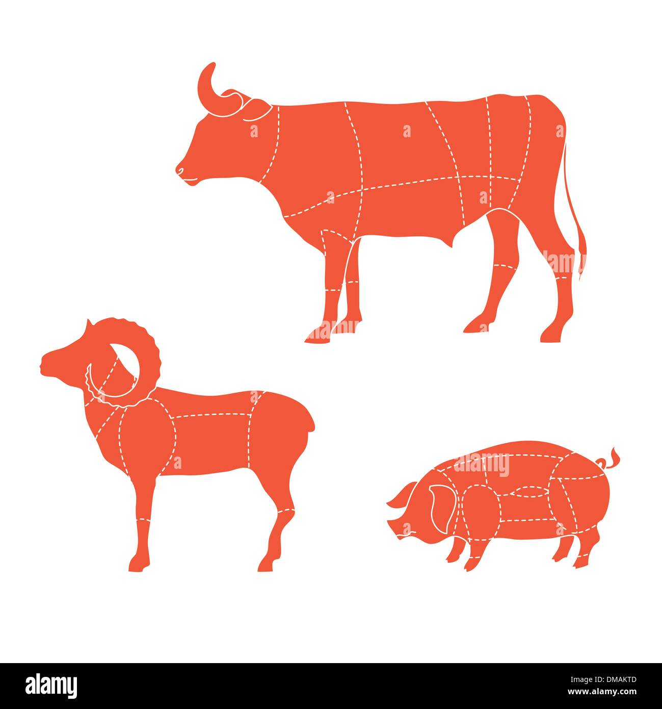 cuts-cow-mutton-pig - Stock Image
