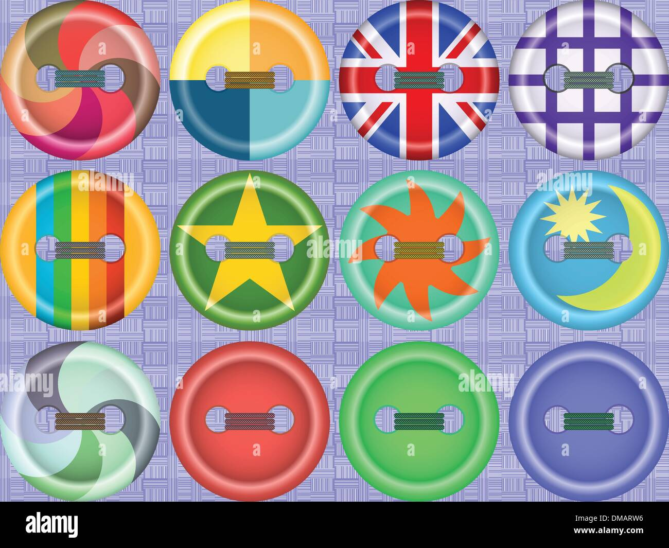 Collection of buttons of fasteners - Stock Image