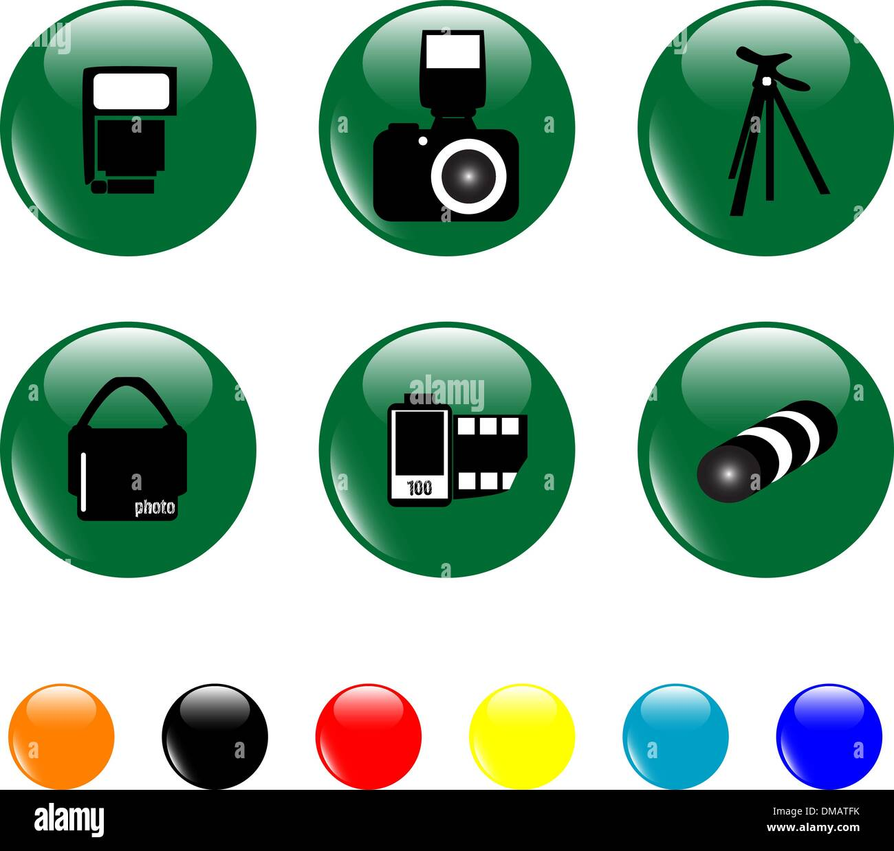 photo icon set objects green button - Stock Image