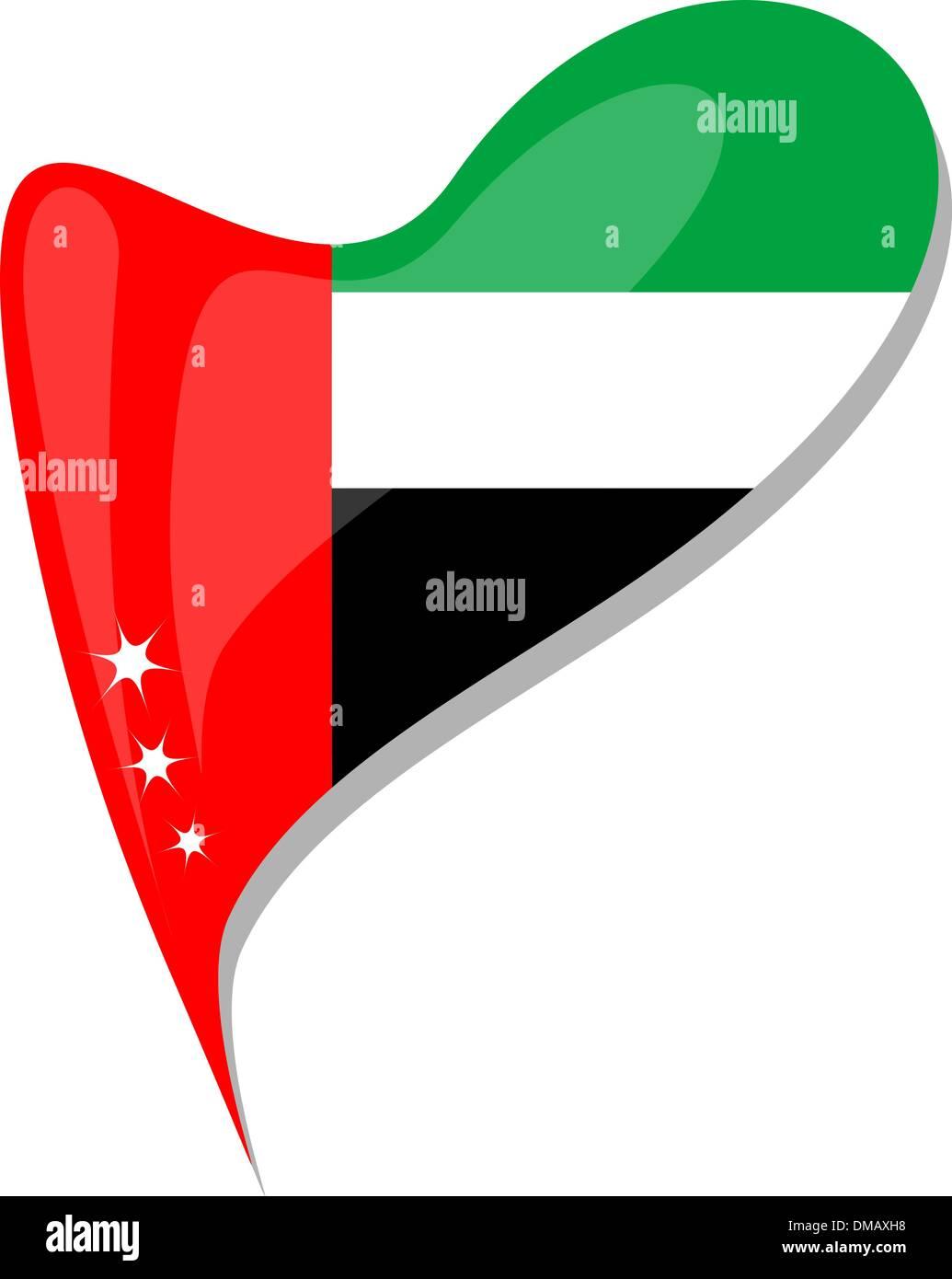 United Arab Emirates flag button heart shape. vector - Stock Image