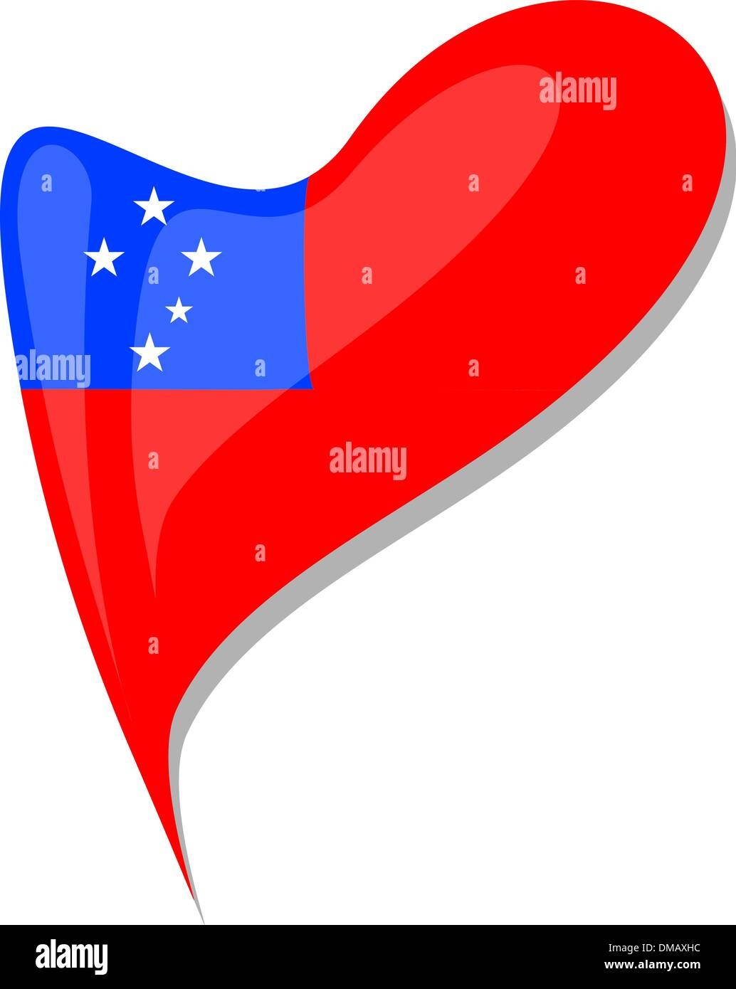 samoa flag button heart shape. vector Stock Vector