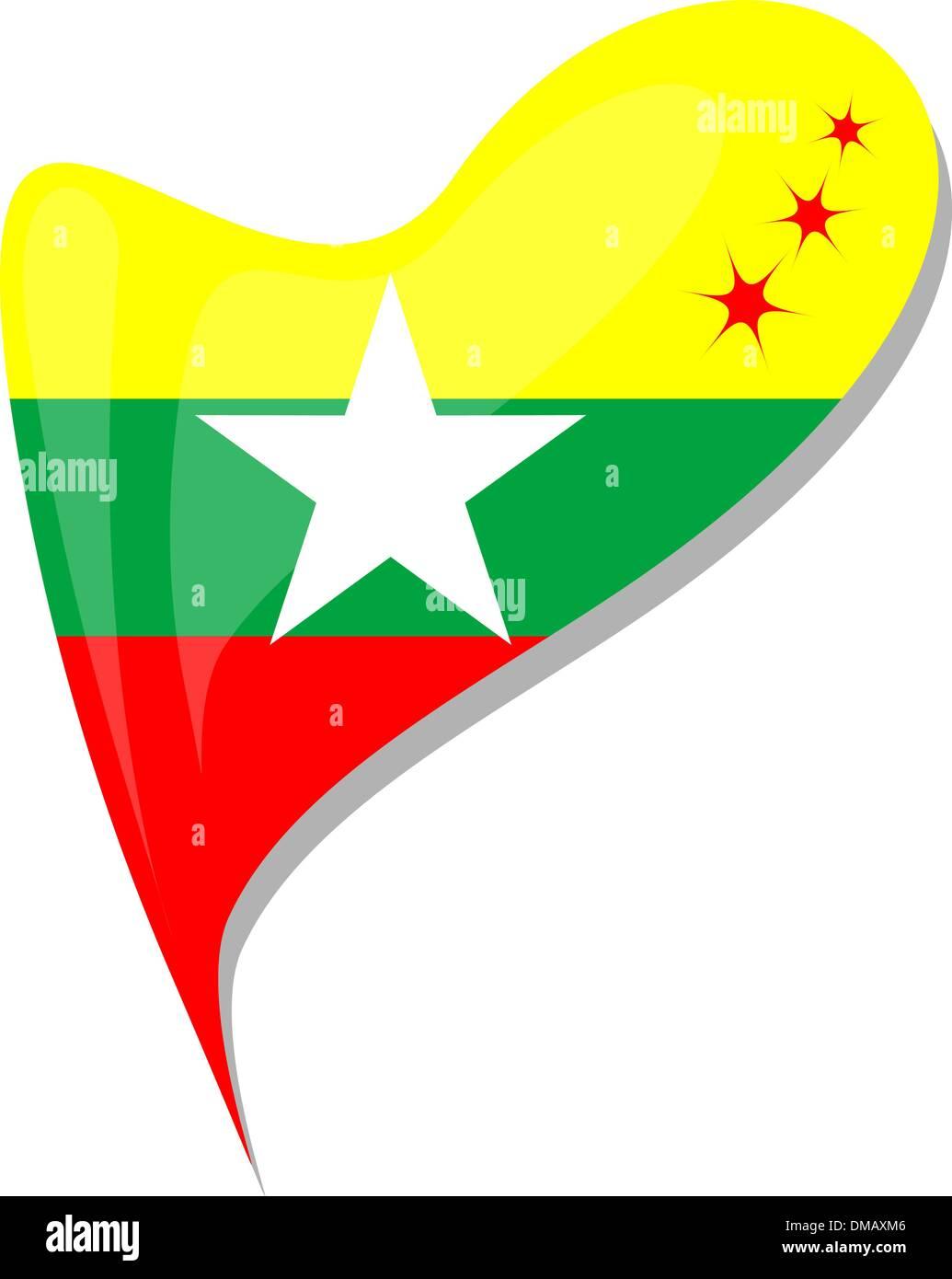myanmar flag button heart shape. vector - Stock Vector