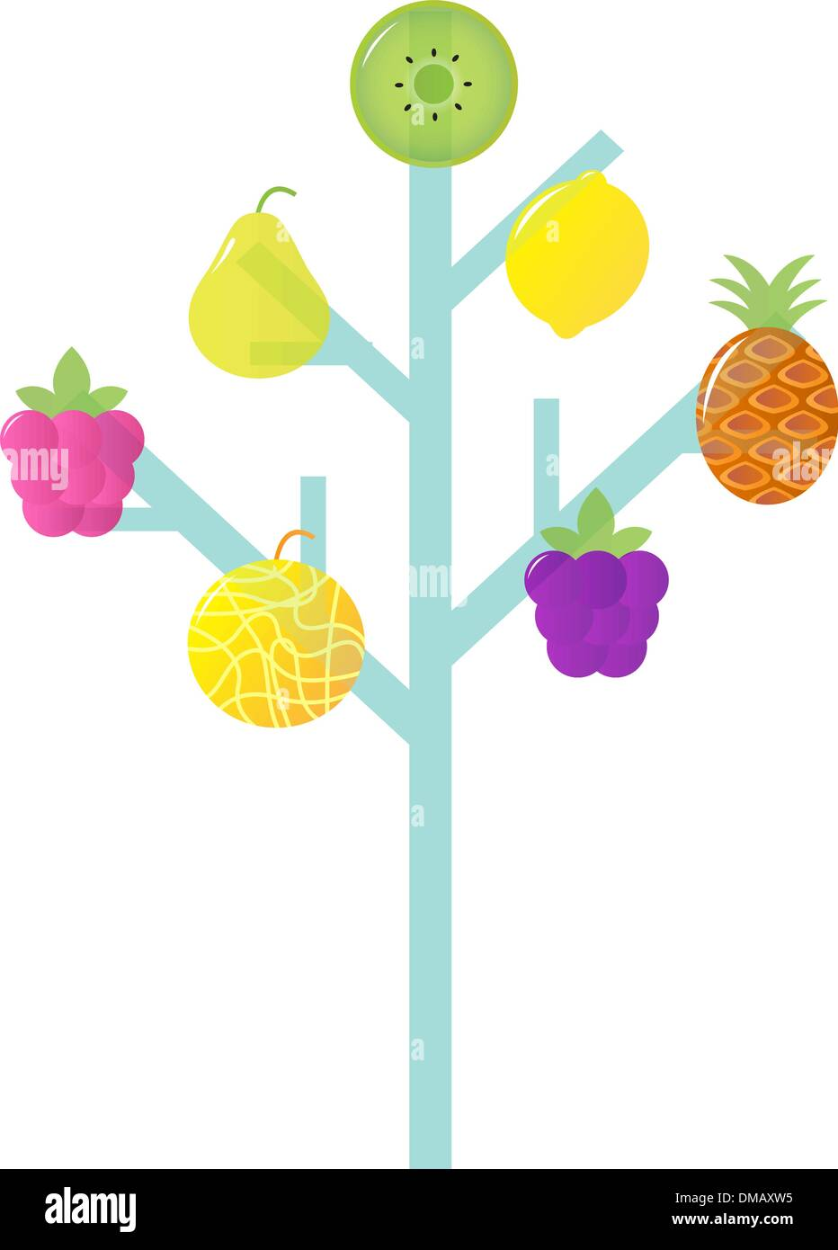 Abstract stylized Retro Fruit Tree isolated on white - Stock Vector