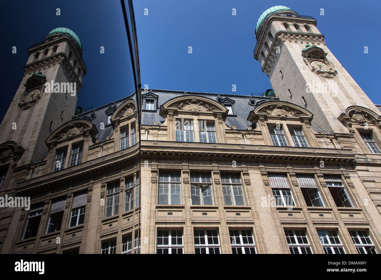 FACADE AND TOWER OF THE SORBONNE (UNIVERSITY OF PARIS), PARIS (75), FRANCE - Stock Image