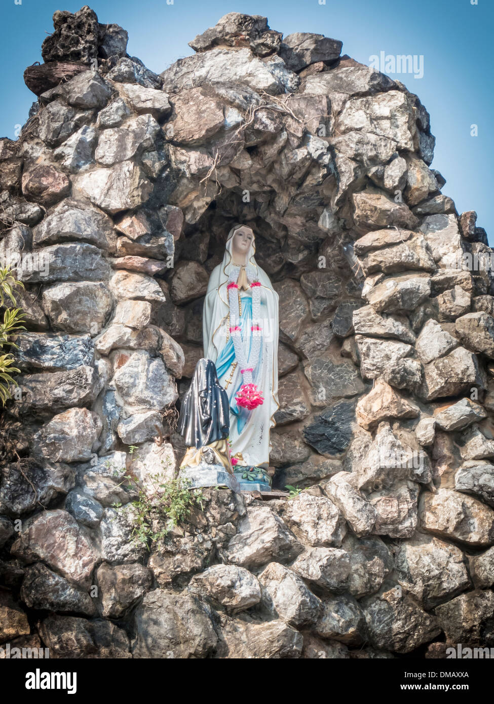 Little Virgin Mary statue in Roman Catholic Church place belief of community Chanthaburi, Thailand. - Stock Image