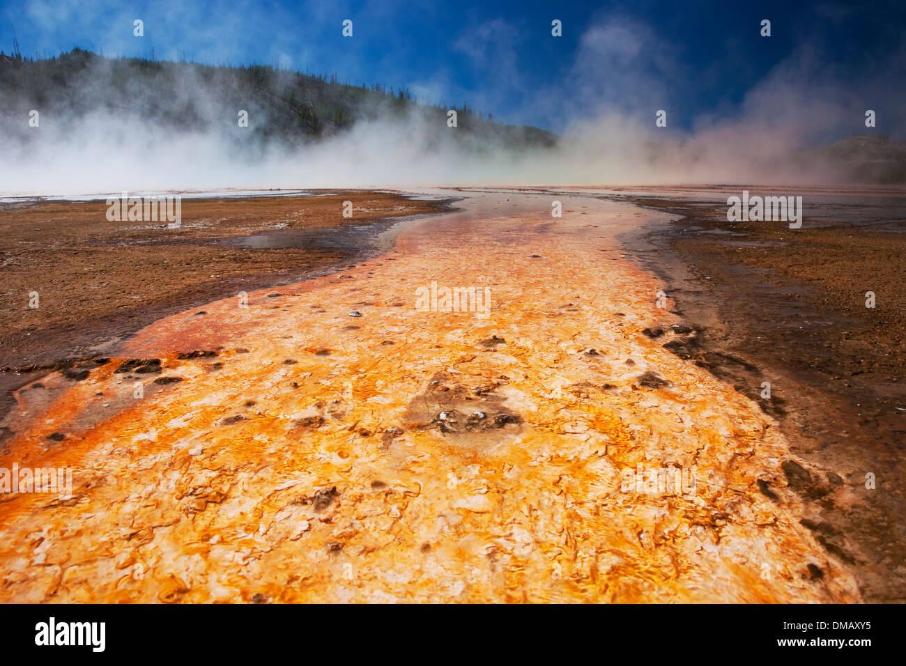 Grand Prismatic Spring detail Yellowstone National Park Wyoming. USA LA006892 - Stock Image