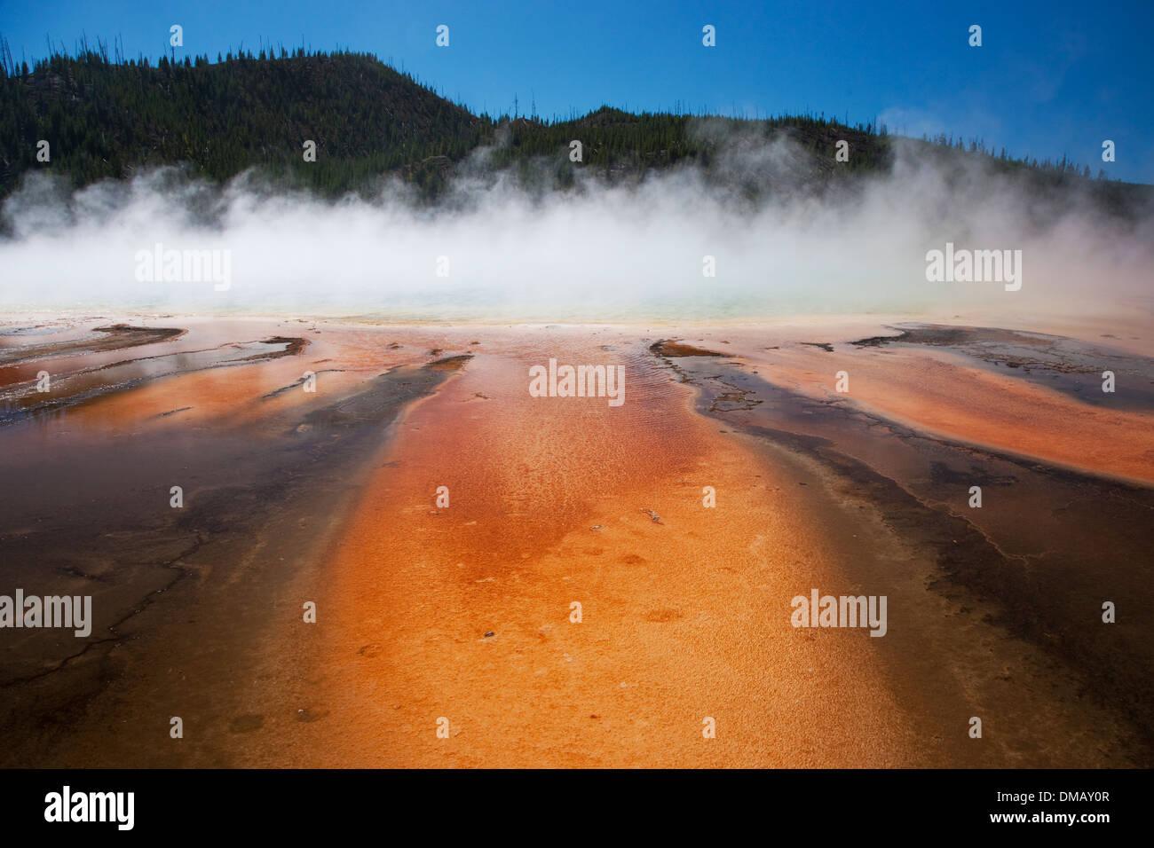 Grand Prismatic Spring detail Yellowstone National Park Wyoming. USA LA006893 - Stock Image