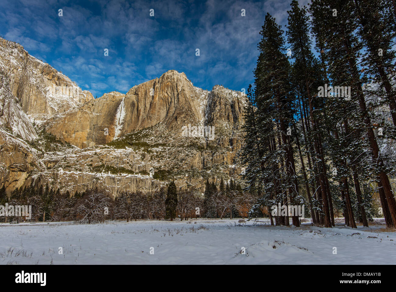 Winter view over frozen Yosemite Falls, Yosemite National Park, California, USA - Stock Image