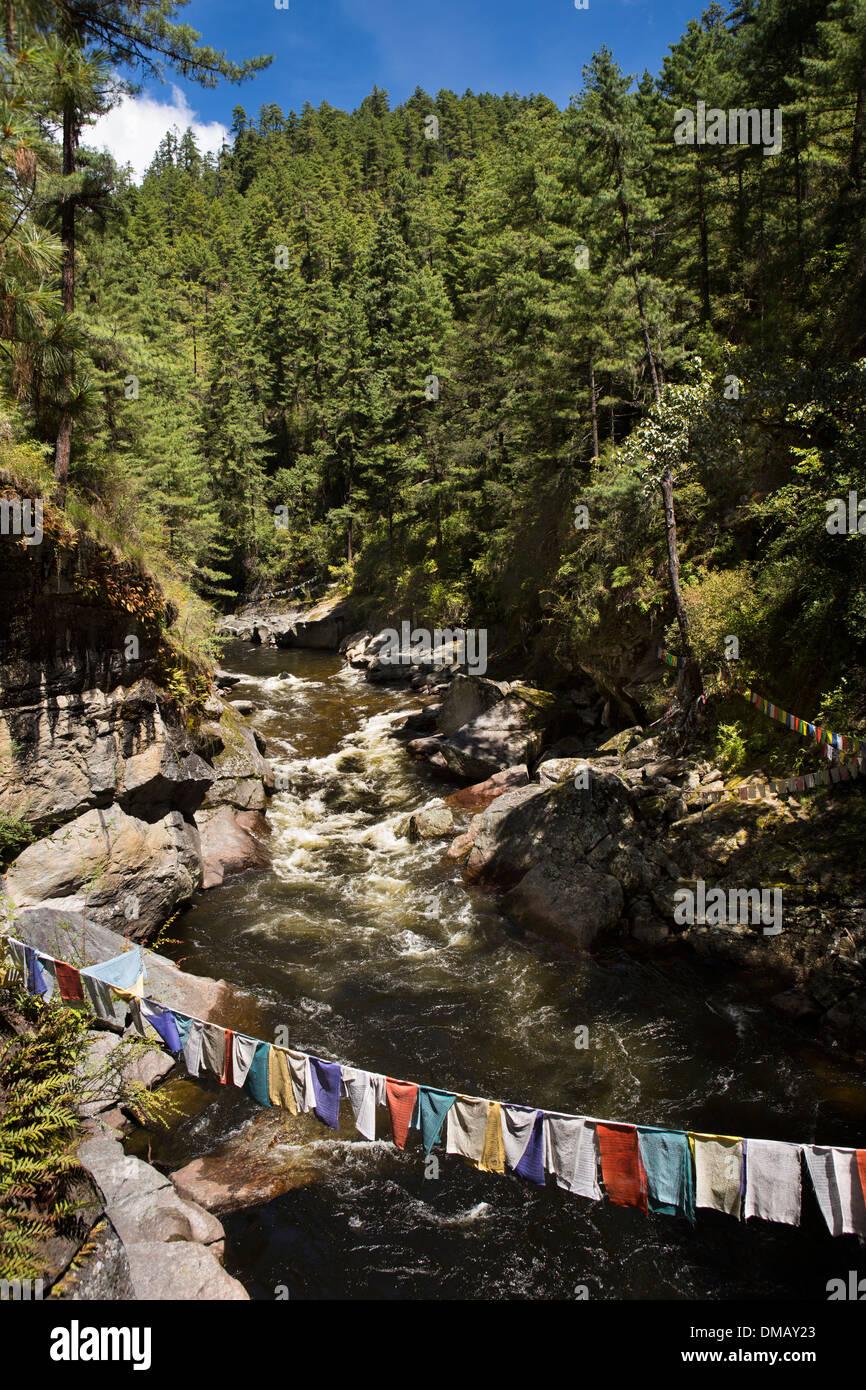 Bhutan, Bumthang Valley, Membar Tsho, Burning Lake Bumthang Chuu river - Stock Image