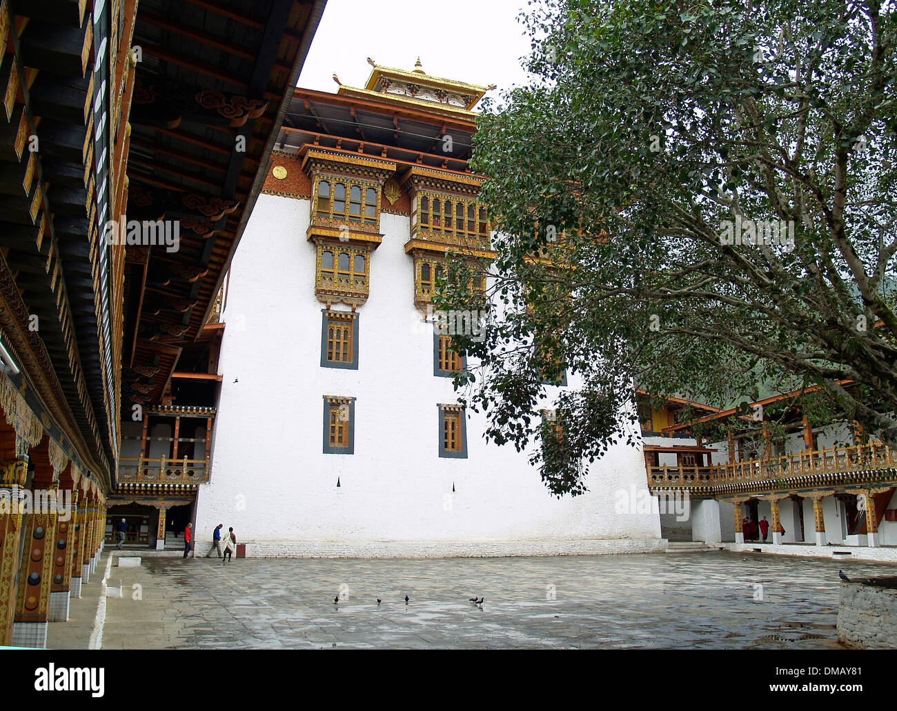 The interior courtyard of the Punakha Dzong,Bhutan - Stock Image