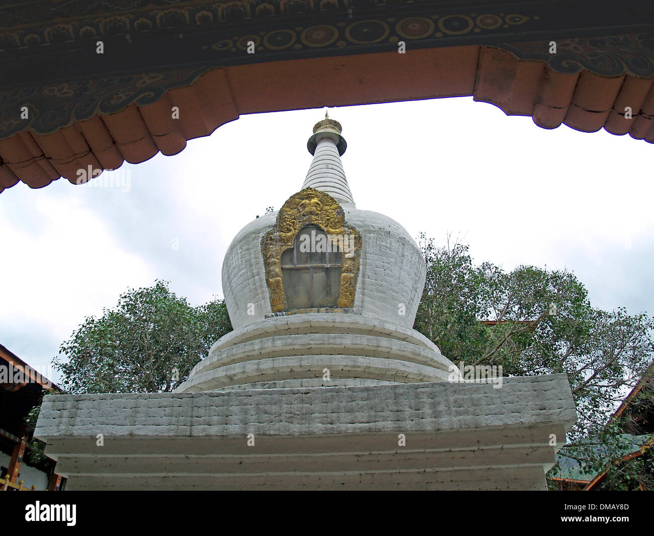 A chorten in Punakha Dzong containing sacred remains,Bhutan - Stock Image