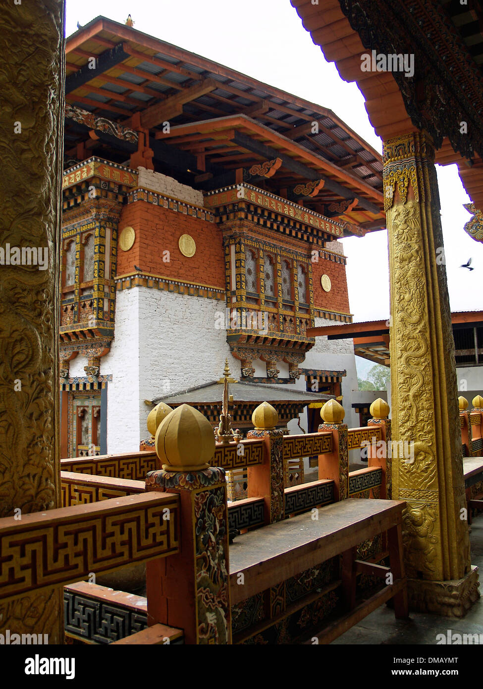 he interior courtyard of the Punakha Dzong,Bhutan - Stock Image