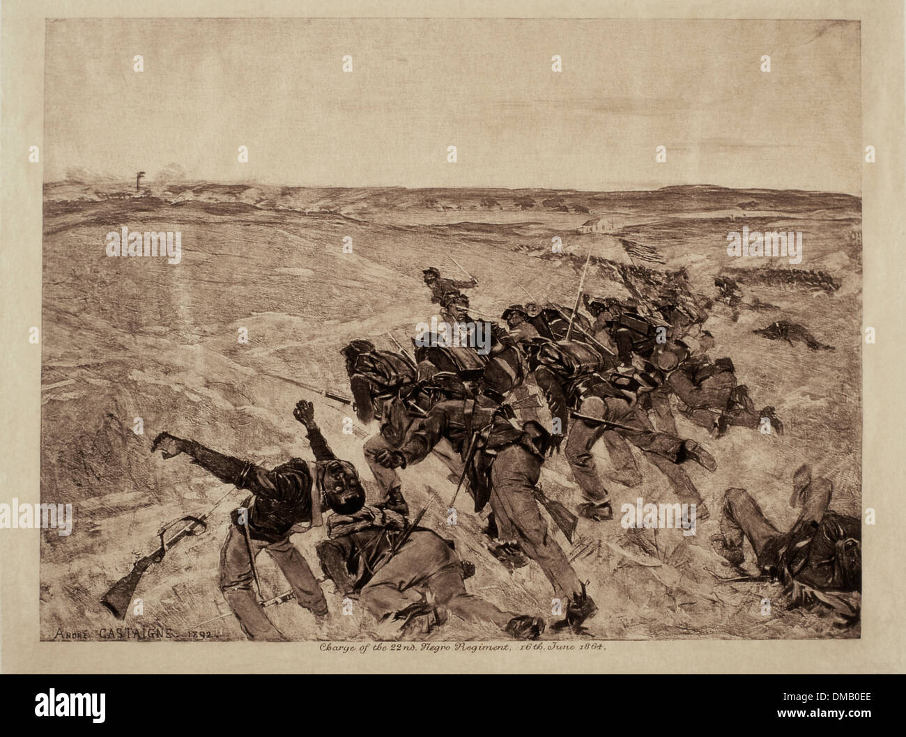 Charge of the 22nd Negro Regiment during Civil War, June 16, 1864, Illustration - Stock Image