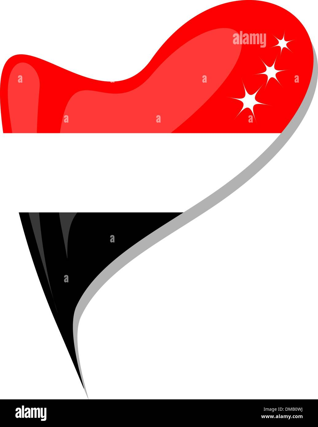yemen flag button heart shape. vector - Stock Image