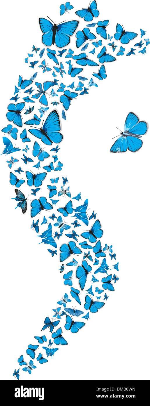 Blue butterflies swarm - Stock Vector