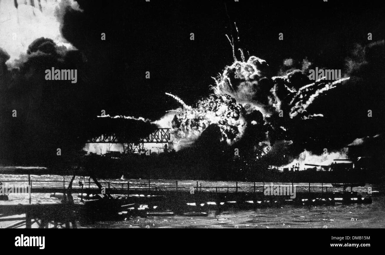 The Destroyer U.S.S. Shaw Exploding at Dry Dock, Pearl Harbor, Hawaii, December 7, 1941 - Stock Image