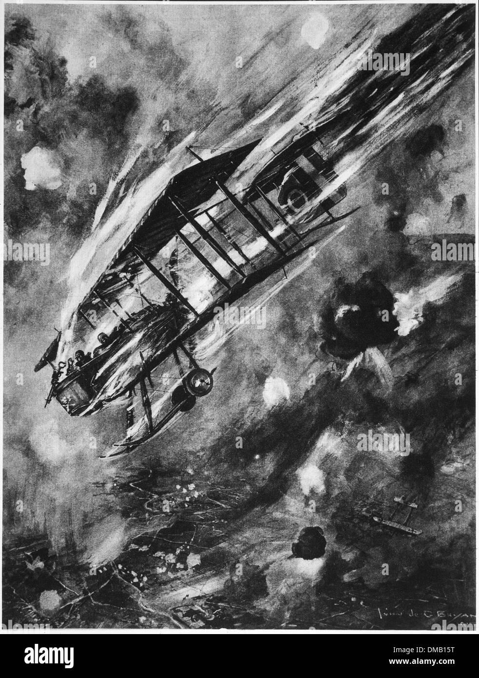 Air Battle between English and German Bi-Planes, 1915 - Stock Image