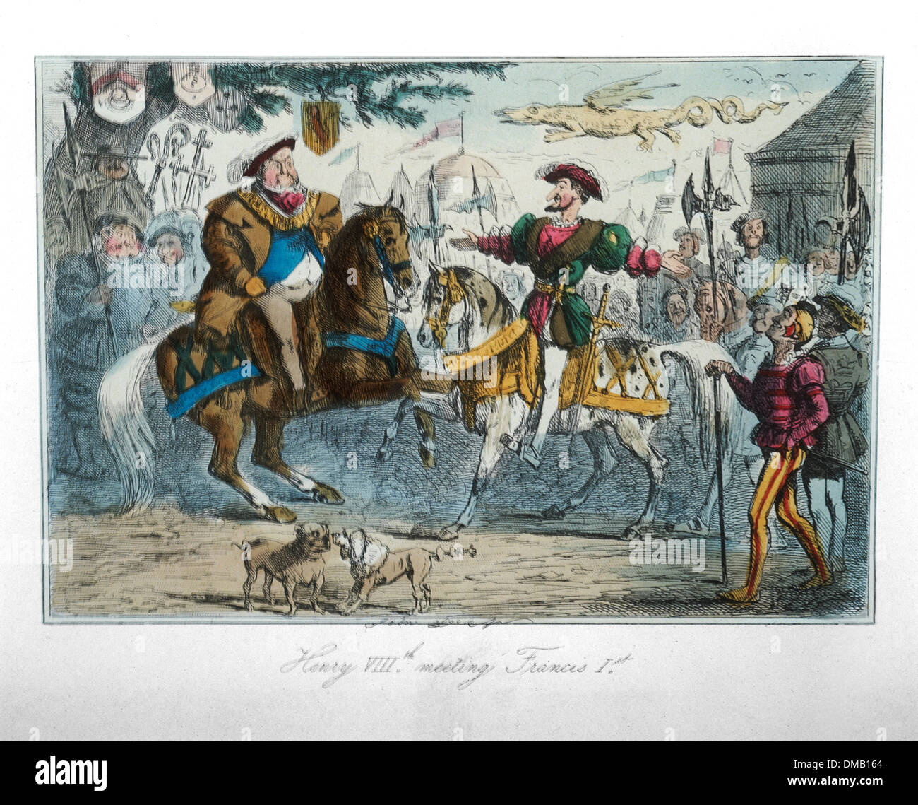 Henry VIII Meeting Francis I, Comic History of England, Colored Etching by John Leech, 1850 - Stock Image