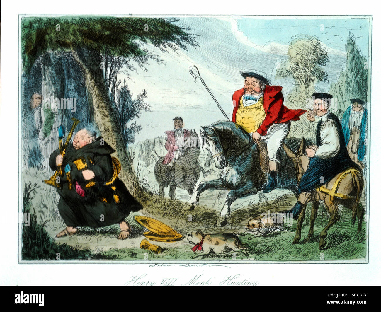 Henry VIII Monk Hunting, Comic History of England, Colored Etching by John Leech, 1850 - Stock Image