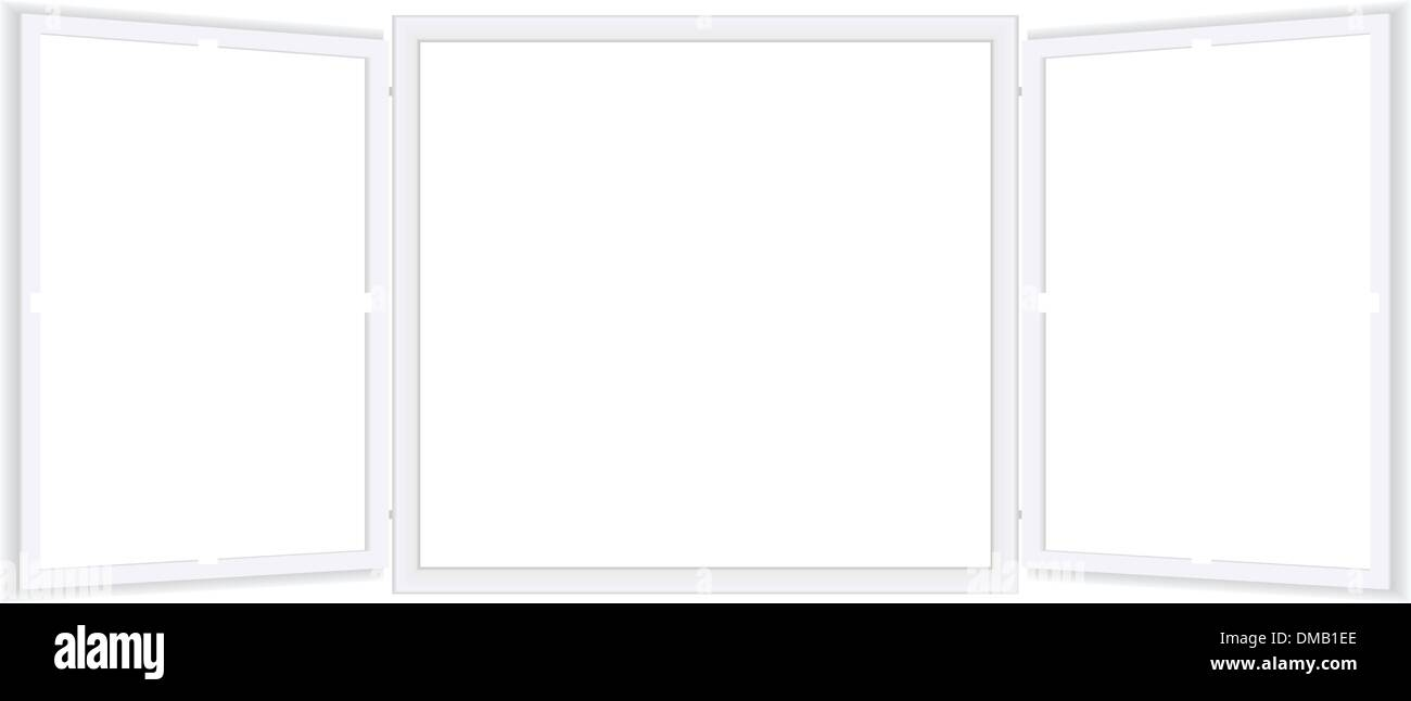Vector illustration of an open window with shades - Stock Vector