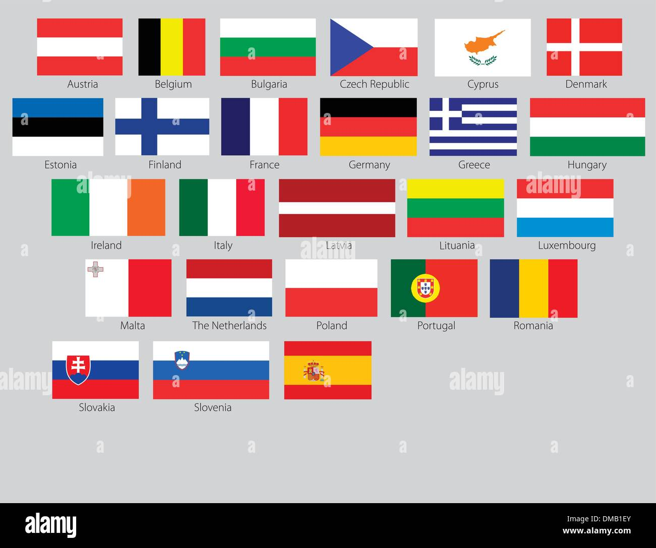 Flags of the 27 members of the European Union - Stock Vector