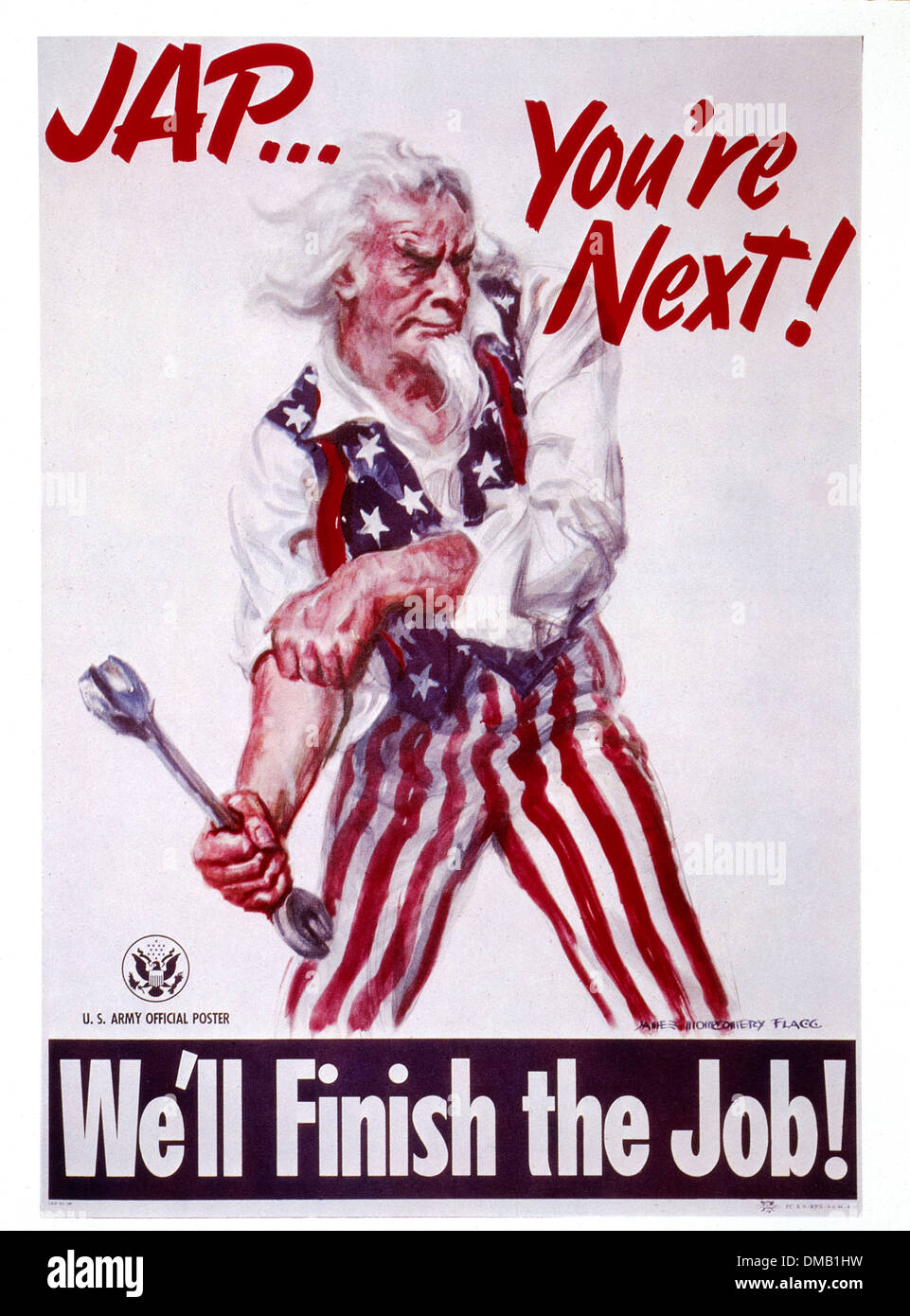 World War II Military Poster, 'Jap, You're Next!', by James Montgomery Flagg, USA, 1942 - Stock Image