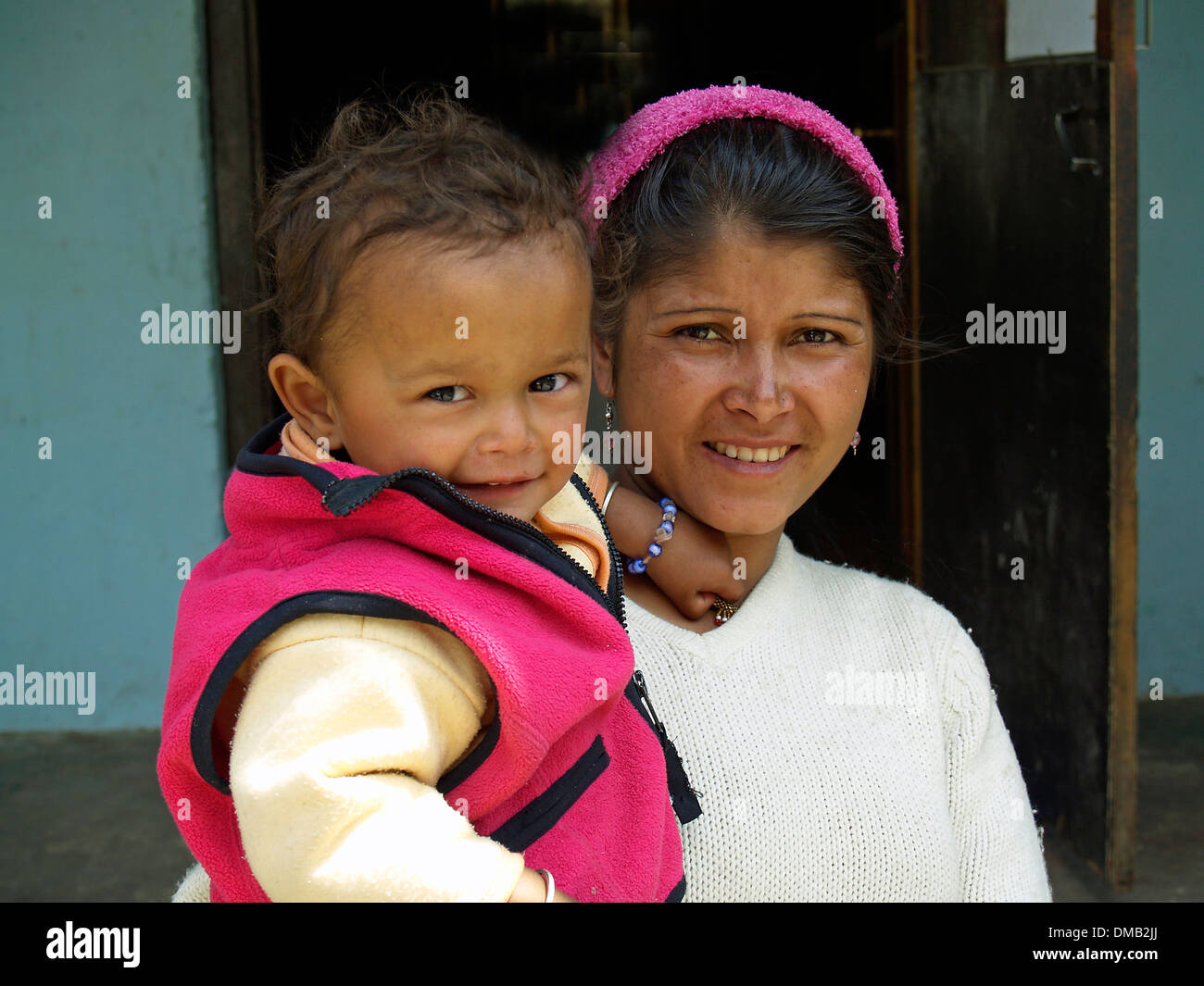 Mother and child,Bhutan - Stock Image