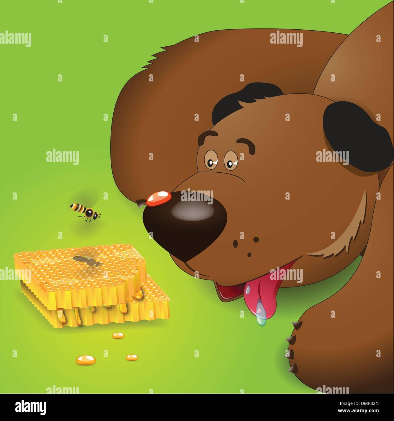 Bear And Honey - Stock Vector