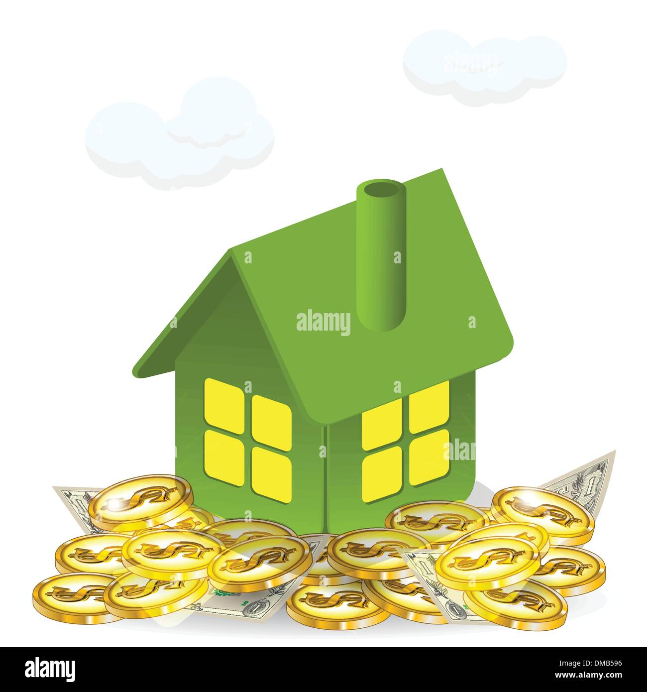 house and money - Stock Vector