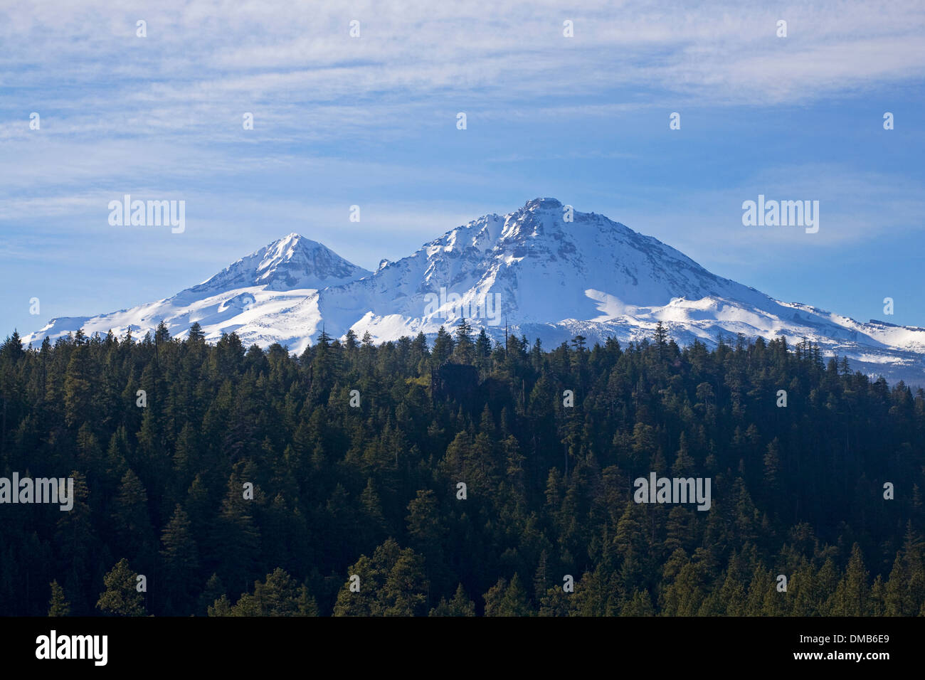 The North and Middle Sisters Peaks in the Oregon Cascades, near sisters, Oregon - Stock Image
