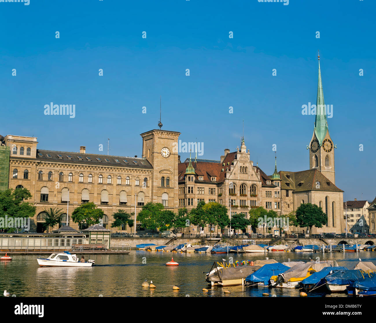 View of City Hall across River Limmat, Zurich, Switzerland - Stock Image
