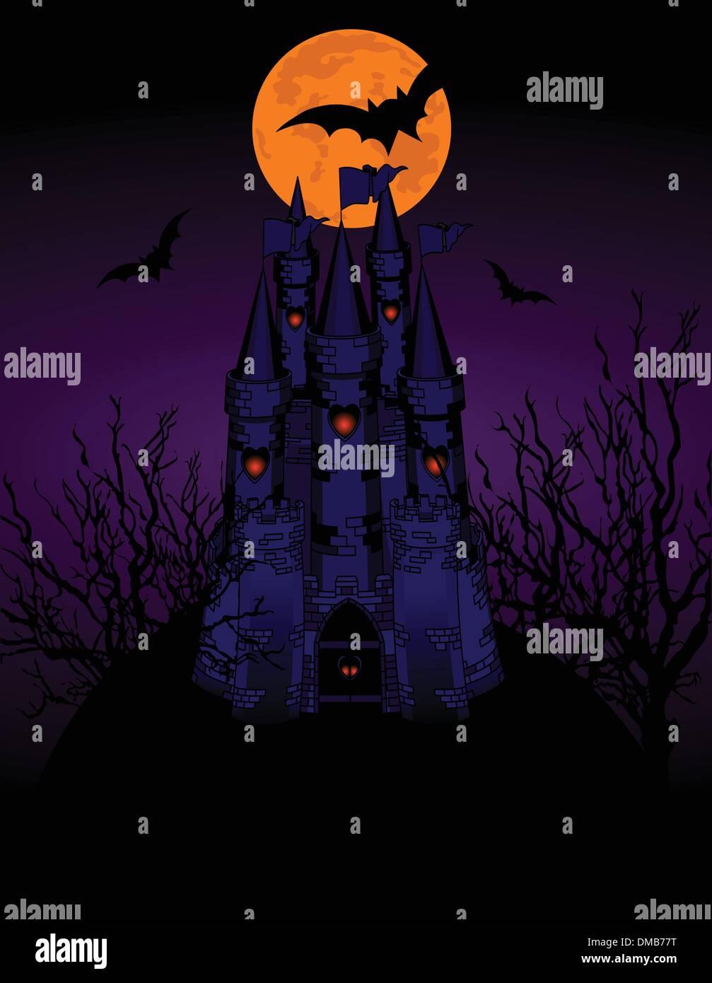 Haunted Castle invitation card - Stock Image