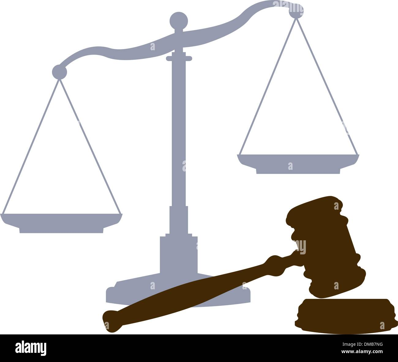 Scales Gavel legal justice court system symbols - Stock Vector