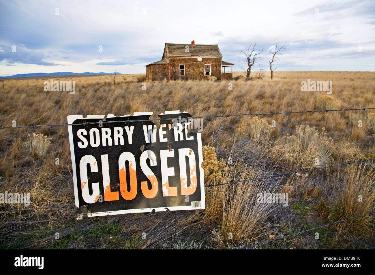 A 1930s Great Depression Era house on the grassy prairie near Madras, Oregon Stock Photo