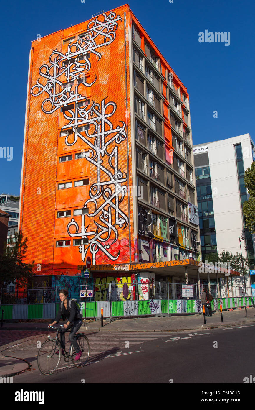 STREET ART, ACROSS FROM THE SEINE, 105 INTERNATIONAL ARTISTS TURNED A BUILDING DESTINED FOR DESTRUCTION AT THE END OF OCTOBER INTO A VERITABLE WORK OF ART THANKS TO THE WORK OF THE GALLERY OWNER MEDHI BEN CHEICK, 13TH ARRONDISSEMENT, PARIS (75), ILE-DE-FR - Stock Image