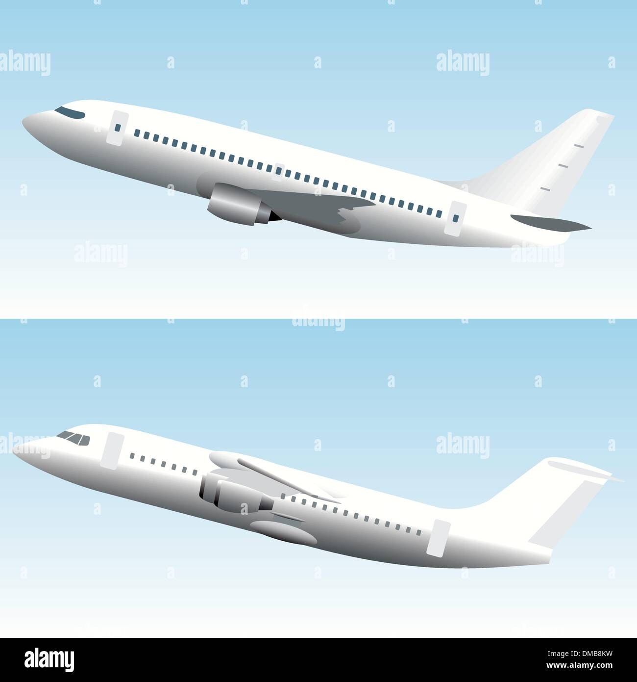 Set of 2 commercial jet airplanes - Stock Image