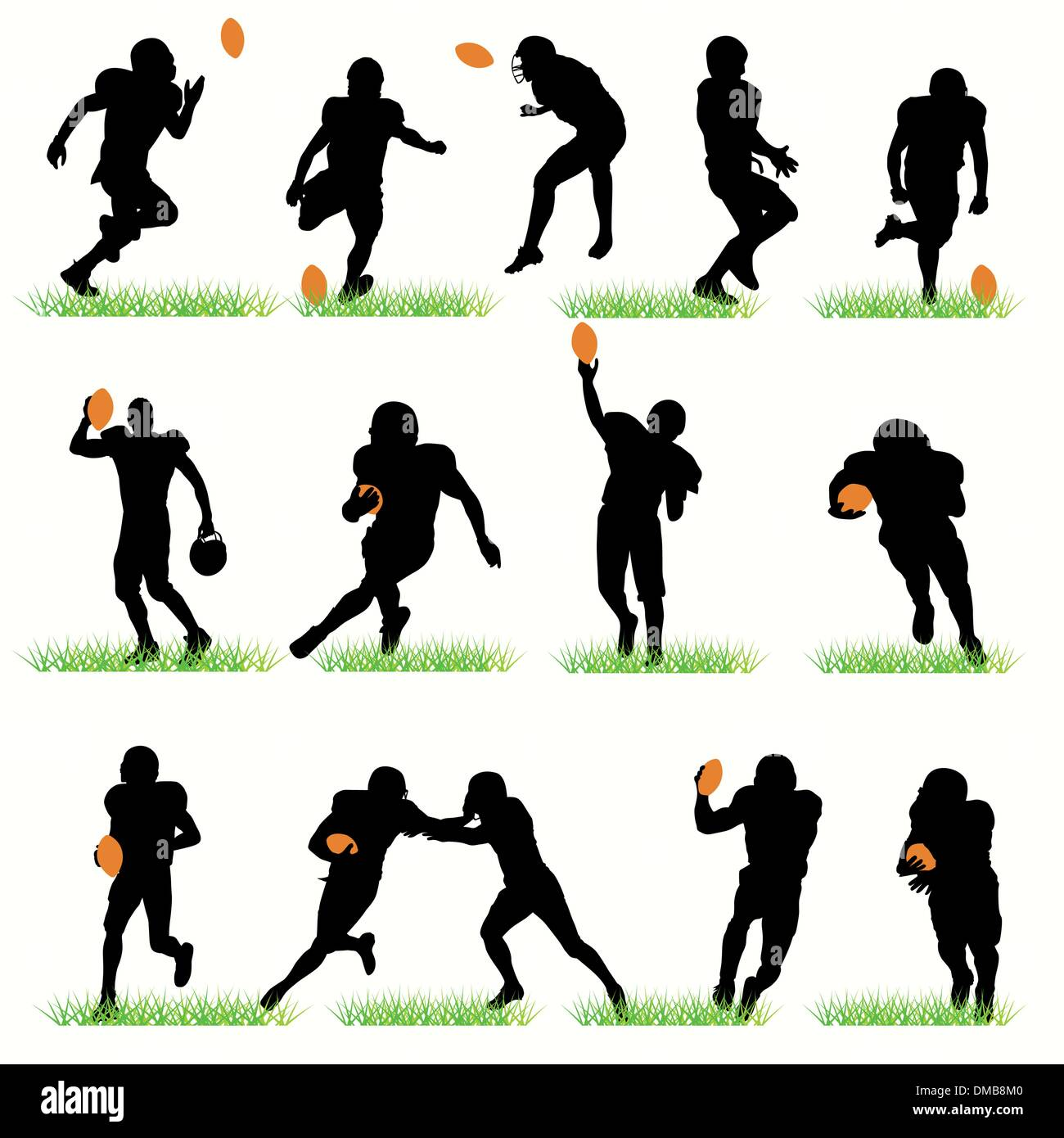 American Football Players Silhouettes Set - Stock Image