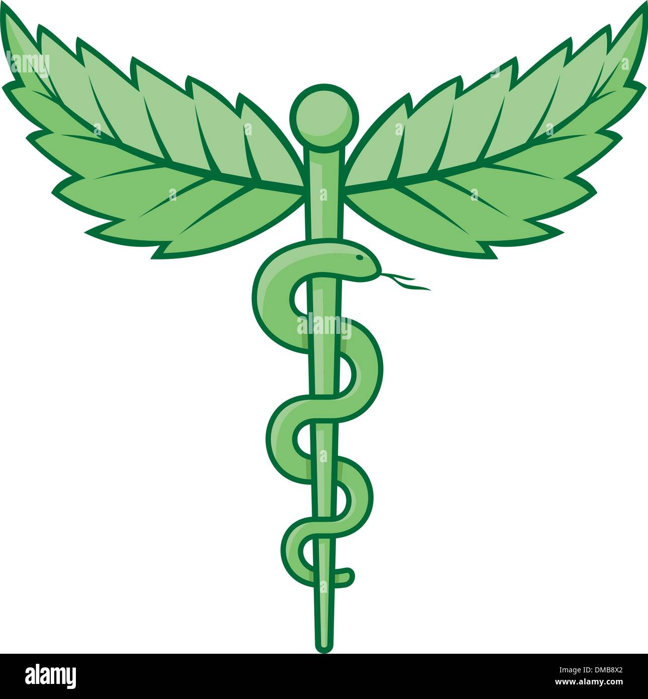 Caduceus with leaves - Stock Image