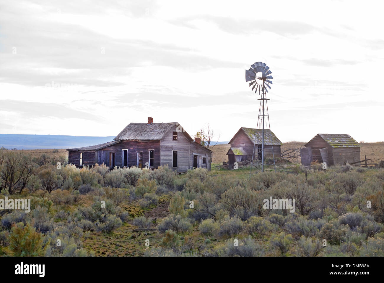 An abandoned Depression era farm in the sagebrush flatlands near the town of Kent, in north-central oregon - Stock Image