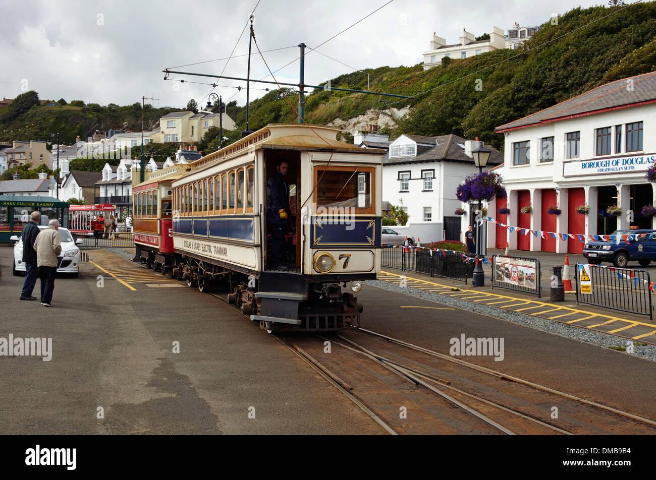 Electric trains at Douglas, Isle of Man Stock Photo