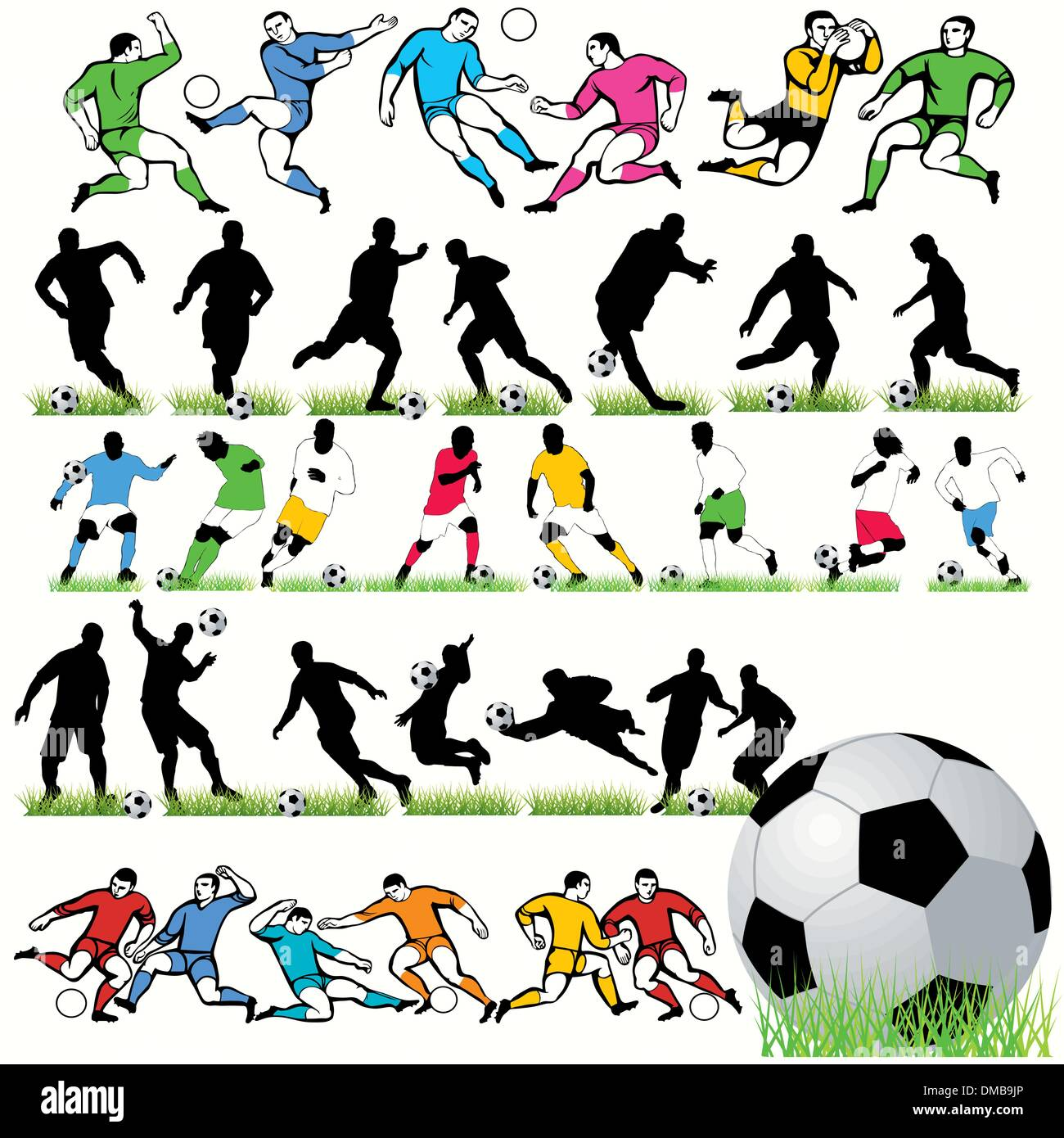 34 Football Players Silhouettes Set - Stock Vector