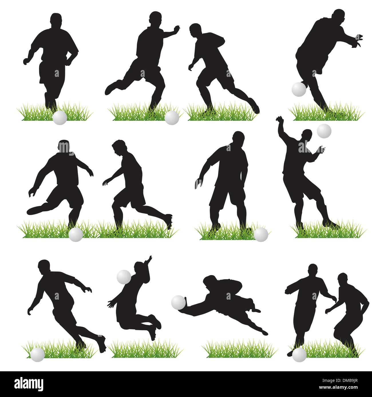 12 Football Players Silhouettes Set - Stock Vector