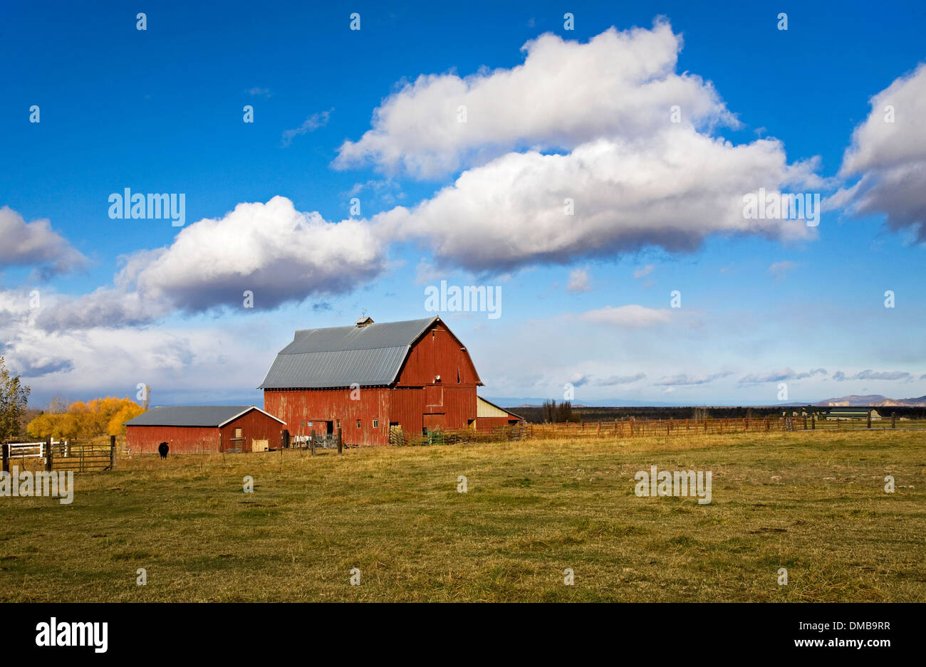 An old red barn and fluffy clouds on a farm in central Oregon. - Stock Image