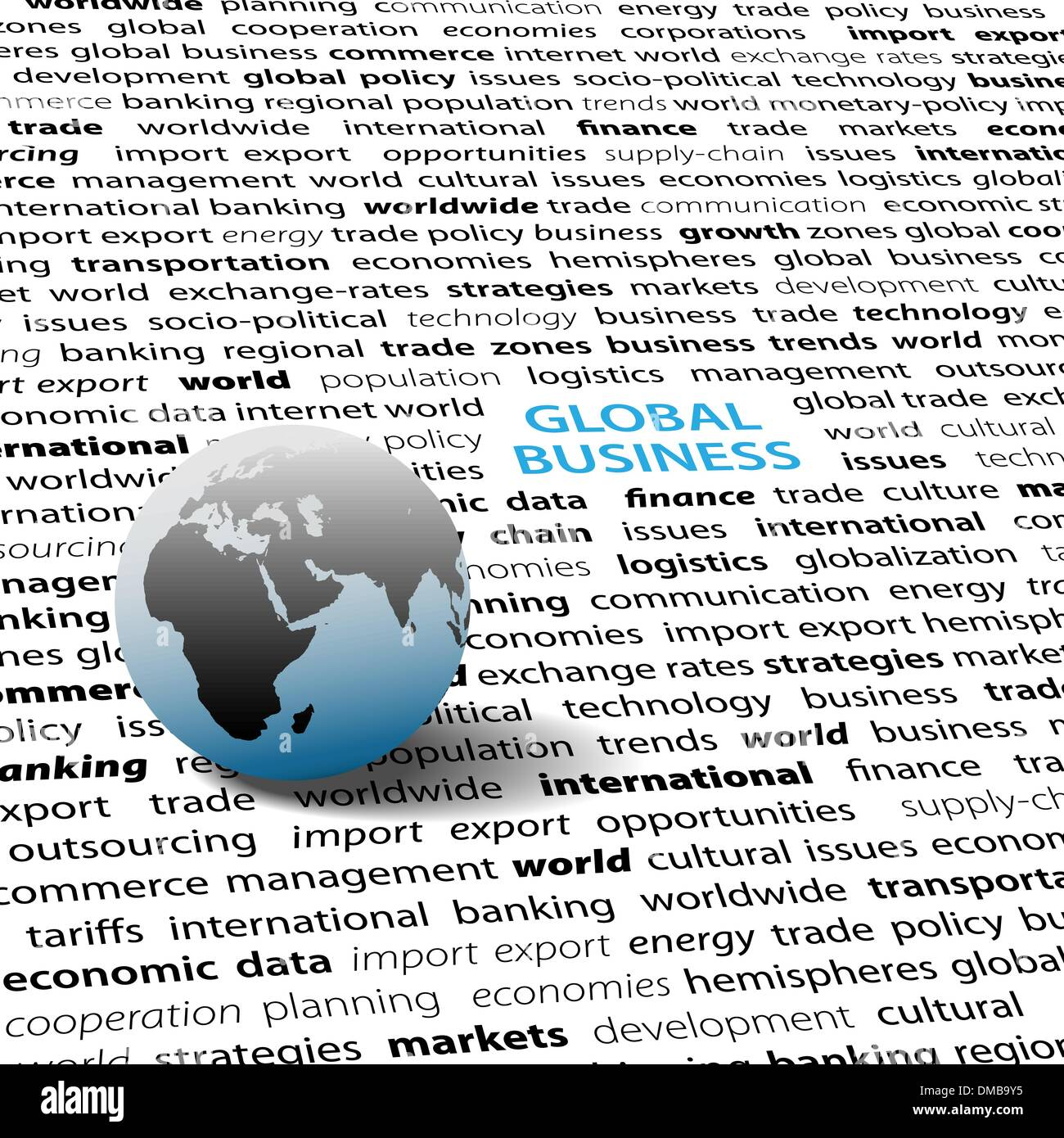Global business issues world globe text page - Stock Vector