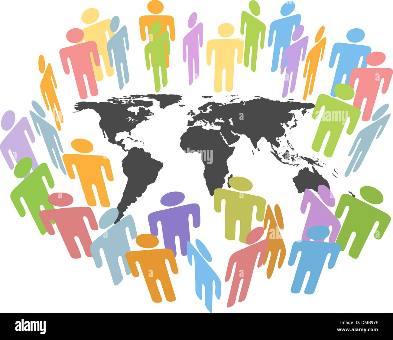 Global human population Earth issues people map - Stock Vector