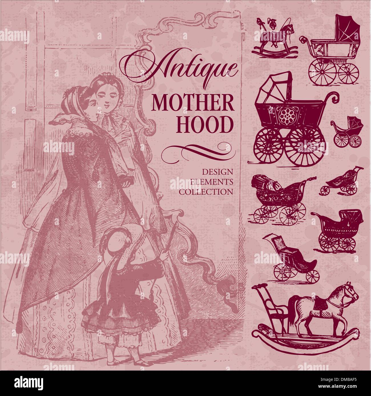 Antique motherhood set (vector) - Stock Image